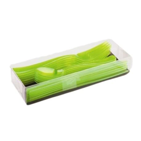 18 Couverts de table plastique réutilisable couleur vert anis