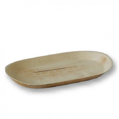 Grand plateau oval 48 x 24 cm biodégradable en palmier par 5