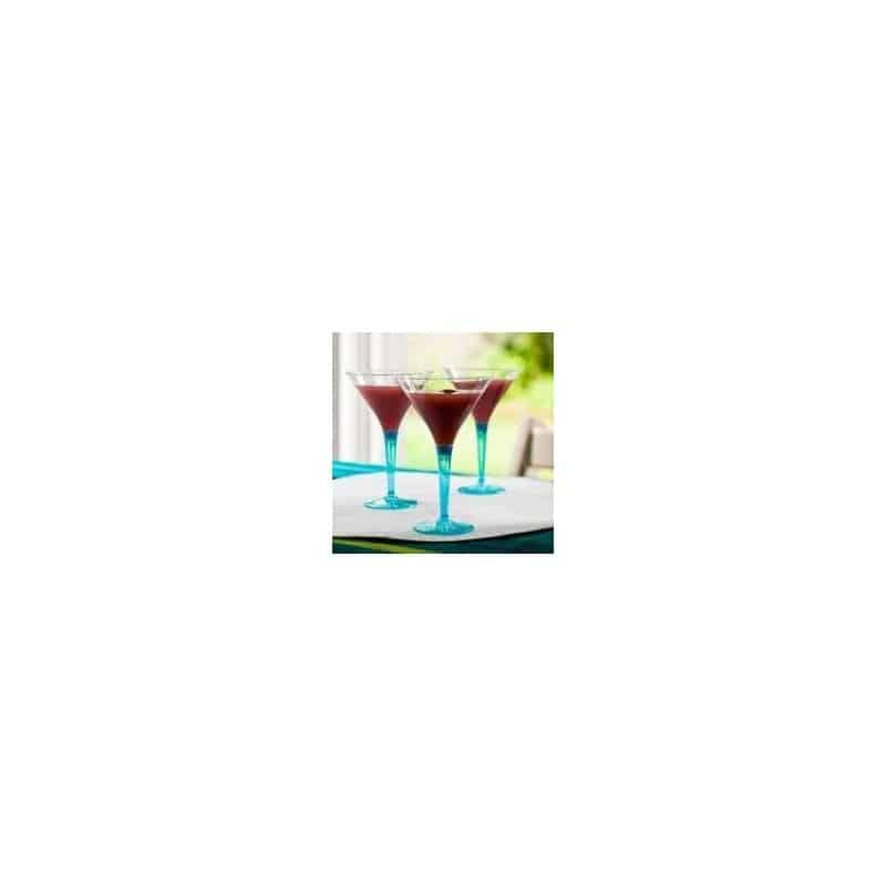 Verre cocktail plastique jetable pied turquoise par 6 - Verre a cocktail plastique ...