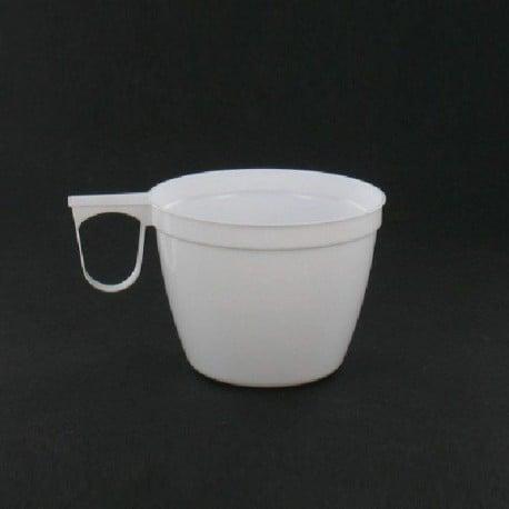 Tasse plastique rigide blanche avec anse 15 cl