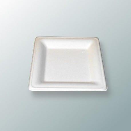 Assiette biodégradable carrée 16 cm en fibre par 50
