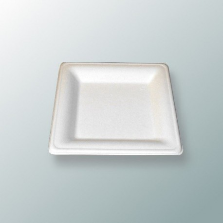 Assiette carrée 16 cm en fibres de canne à sucre par 50