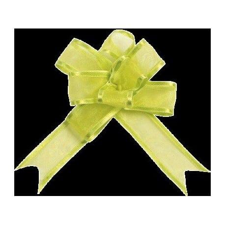 Mini-noeud organdi automatique vert anis par 5