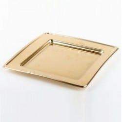 Assiette plastique jetable mariage carrée 18 cm OR par 6