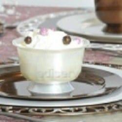 Coupe dessert plastique jetable rigide blanc nacré