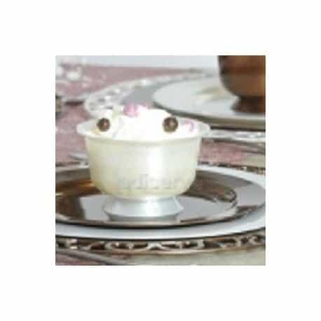 Coupe dessert plastique rigide blanc nacré
