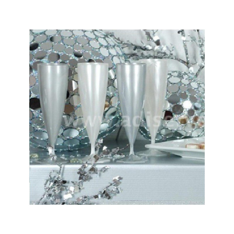 fl te champagne effet torsad en plastique blanc nacr par 10 verres tasses adiserve. Black Bedroom Furniture Sets. Home Design Ideas