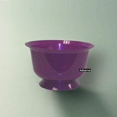 Coupe dessert ou bol en plastique réutilisable recyclable 20 cl pourpre pailleté Or