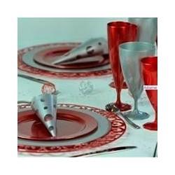 Assiette mariage ronde 24 cm Argent plastique jetable par 12