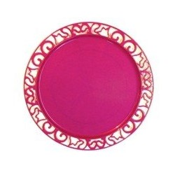 Sous-assiette ronde plastique jetable rose Magenta 30 cm par 4