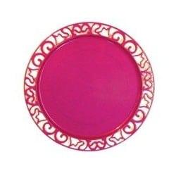 Sous-assiette ronde plastique jetable rose Magenta nacré 30 cm par 4