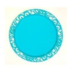 Sous-assiette ronde plastique jetable turquoise nacré 30 cm par 4