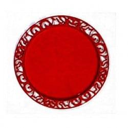 Sous-assiette ronde plastique Rouge Carmin 30 cm par 4
