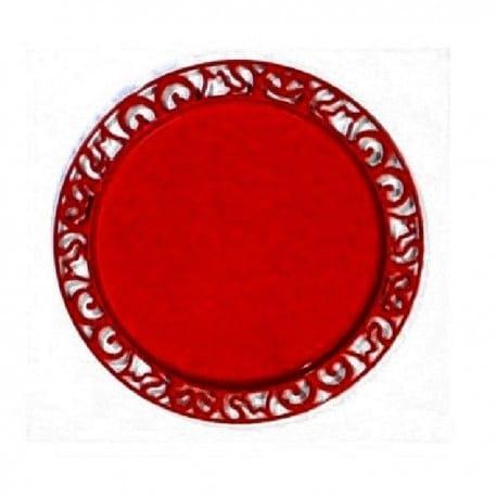 Sous-assiette réutilisable ronde 30 cm carmin par 4