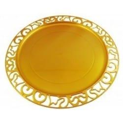 Sous-assiette ronde plastique jetable Or nacré 30 cm par 4