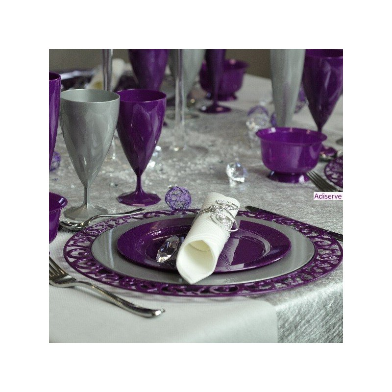 Sous-Assiette Ronde Violet Pailleté Or 30 Cm Par 4 - Assiettes