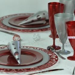 sous-assiette ronde rouge carmin 30 cm par 4