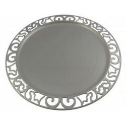 Sous-assiette ronde plastique jetable argent nacré 30 cm par 4