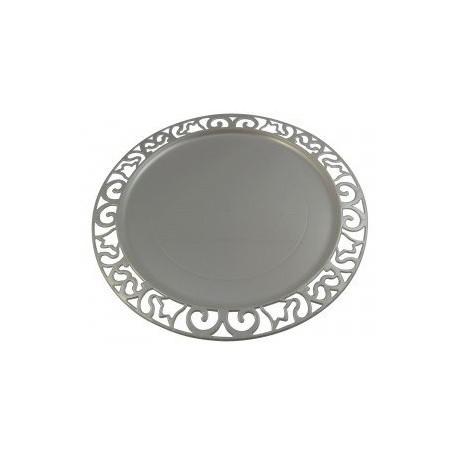 Sous-assiette plastique argent réutilisable ronde 30 cm par 4