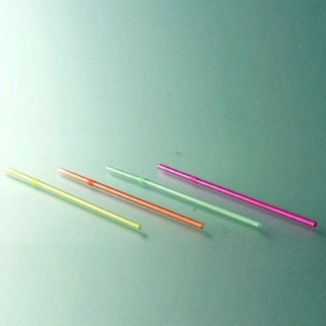Pailles cocktail fluo flexibles multicolores par 100