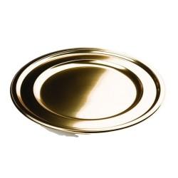 Assiette plastique jetable mariage ronde 23 cm Or par 6
