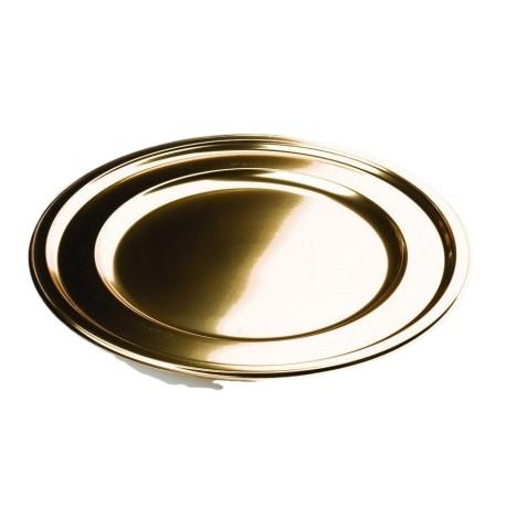 Assiette or ronde 23 cm par 6 pour une table en fête