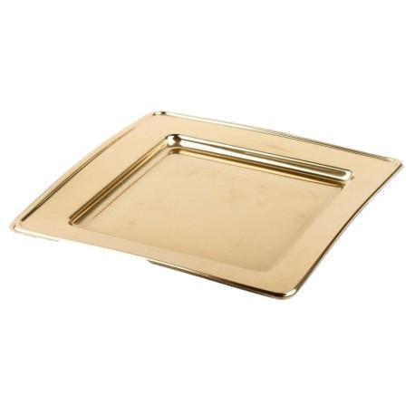 Assiette plastique jetable carrée 24 cm OR par 6