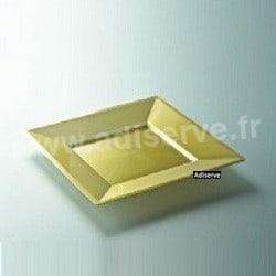 Assiette carrée Or nacré plastique jetable 18 cm par 12