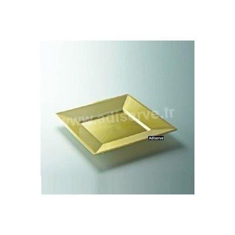 Assiette mariage carrée 18 cm Or, jetable par 12
