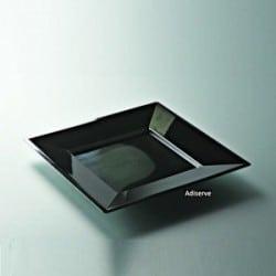 Assiette carrée 18 cm couleur noire jetable par 12