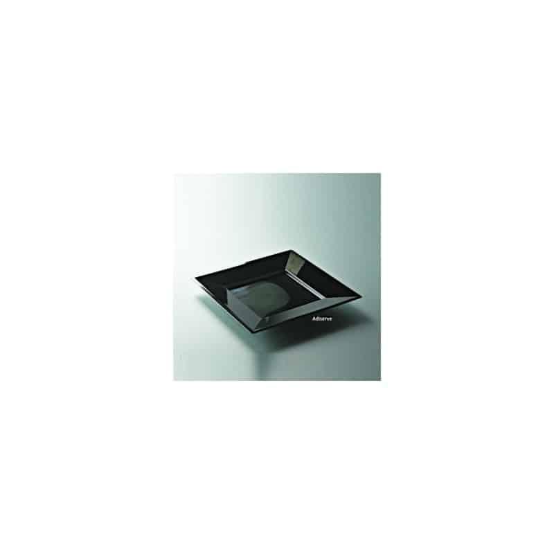 Assiette carrée noire 18 cm par 12 - Assiettes plastiques jetables ...