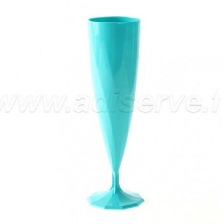 Flûte à champagne torsadée turquoise par 10