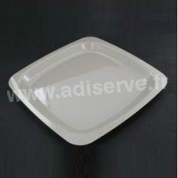 Assiette plastique rigide carrée 23 cm grise par 20