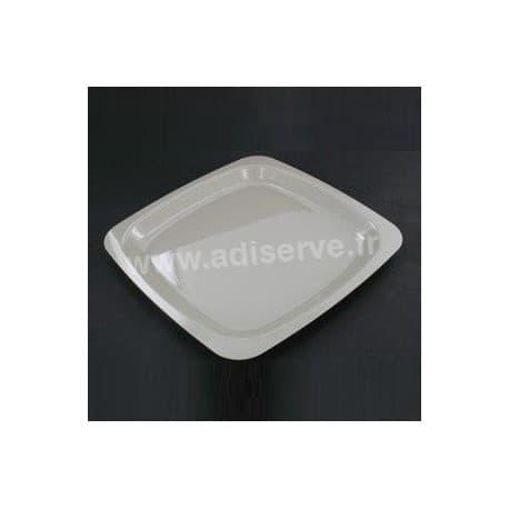 Assiette plastique jetable carrée 23 cm Grise par 20