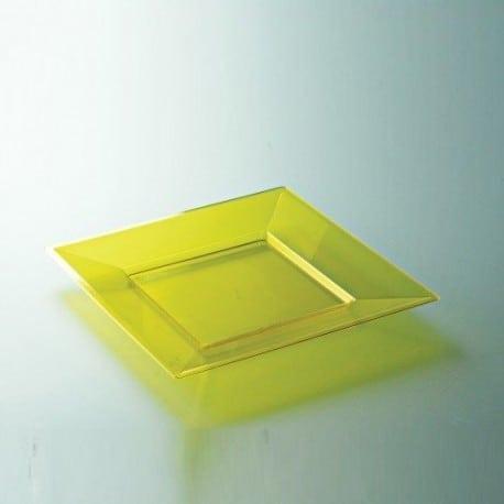 Assiette plastique jetable jaune carrée 18 ou 24 cm par 12