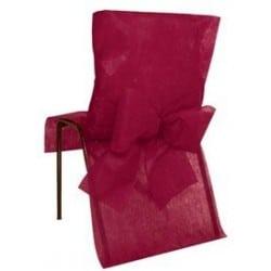Housse de chaise avec noeud jetable bordeaux par 10