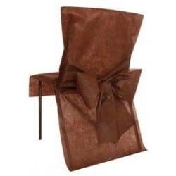 Housse de chaise avec noeud chocolat jetable par 10