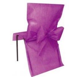 Housse de chaise avec noeud prune jetable par 10