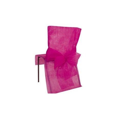 Housse de chaise avec noeud fuchsia jetable par 10