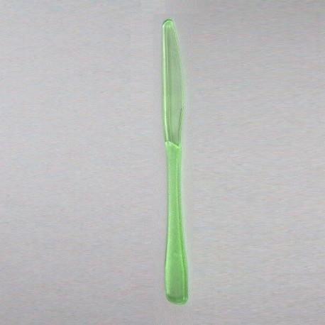 Couteau plastique jetable vert très rigide par 20