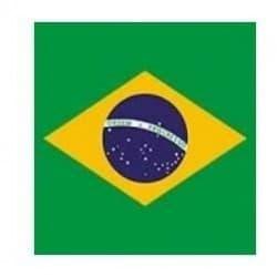 Serviette cocktail papier jetable drapeau brésilien, en intissé 25x25 cm par 20