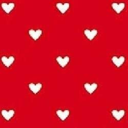 Serviette papier jetable rouge & coeurs blancs, en intissé 40 cm par 20