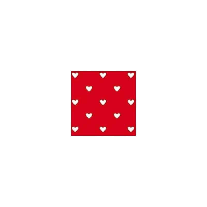 serviette papier jetable rouge coeurs blancs en intiss 40 cm par 20 serviettes en papier. Black Bedroom Furniture Sets. Home Design Ideas
