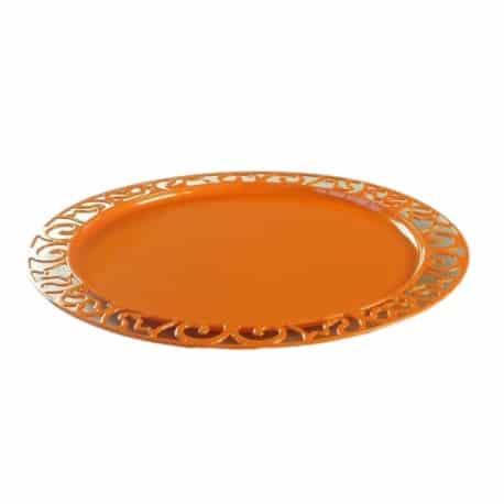 Sous-assiette ronde plastique jetable orange 30 cm par 4