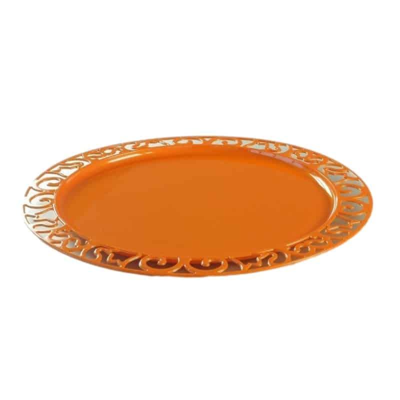 Sous-Assiette Ronde Orange 30 Cm Par 4 - Assiettes Plastiques