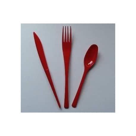 Ménagère couverts plastique jetables rouge 30 pièces