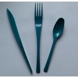 Ménagère couverts plastique jetable turquoise 30 pièces