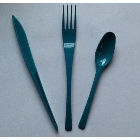 Ménagère 30 couverts plastique jetable turquoise