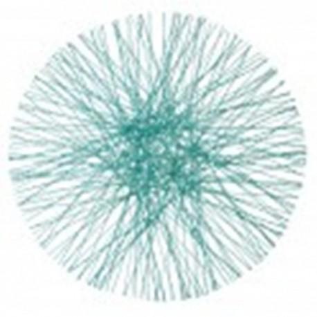 Set de table rond bleu en sinamay 34 cm par 4
