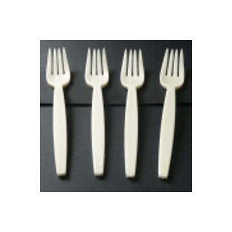 Fourchette jetable biodégradable rigide en amidon par 50